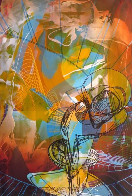 Colin Goldberg, Totem, 2015. Acrylic, metallic latex glaze and pigment print on paper, 24 x 16 inches.