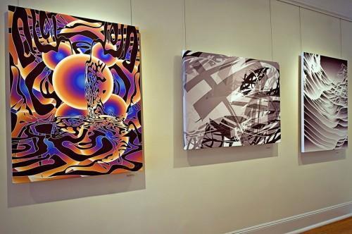 Colin Goldberg - 2011 Solo Exhibition - Techspressionism - 4 North Main Gallery, Southampton NY. Digital Monoprints - Memesis, Esoteric.