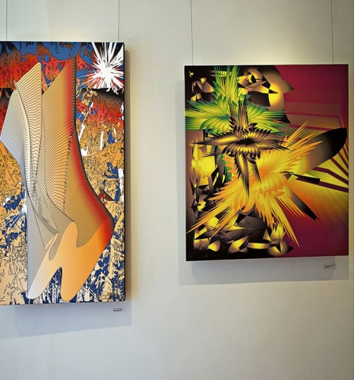 Colin Goldberg - 2011 Solo Exhibition - Techspressionism - 4 North Main Gallery, Southampton NY. Digital Monoprints - Into the Trees, Incarnation.