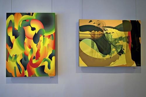 Colin Goldberg - 2011 Solo Exhibition - Techspressionism - 4 North Main Gallery, Southampton NY. Digital Monoprints - Organic Gravity, Irie.