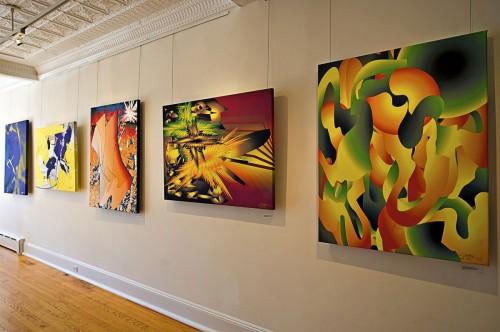 Colin Goldberg - 2011 Solo Exhibition - Techspressionism - 4 North Main Gallery, Southampton NY. Digital Monoprints - Installation View.