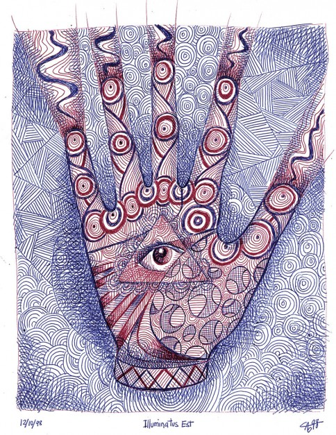 Colin Goldberg, Illuminatus Est, 1998. Ballpoint on paper, 8.5 x 11 inches. Original lost.