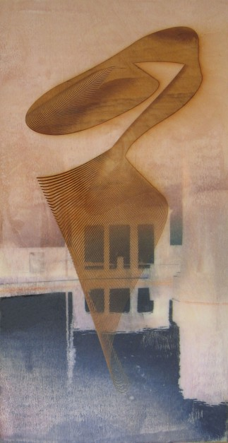 Colin Goldberg, Agawam, 2006. Laser-etched wood panel with pigment transfer and liquid polymer, 12 x 24 inches.