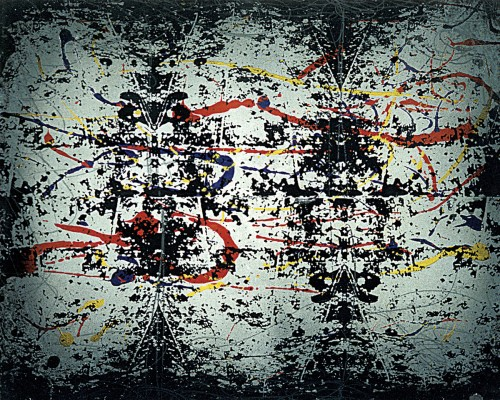 Colin Goldberg, Pollock's Floor, 1994. Silkscreen ink, graphite and enamel on paper, 18 x 24 inches. Original lost.