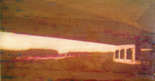 Colin Goldberg, Mighigan Overpass No 1, 2006. Laser-etched wood panel with pigment transfer and liquid polymer, 12 x 24 inches.