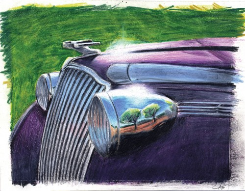 Colin Goldberg, Outback Auto, 1989. Colored pencil on paper, 8 x 10 inches.