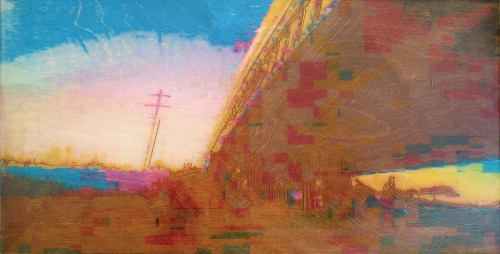 Colin Goldberg, Mighigan Overpass No 2, 2006. Laser-etched wood panel with pigment transfer and liquid polymer, 12 x 24 inches. Private collection, Ohio.