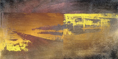 Colin Goldberg, Brown Susquehanna, 1994. Silkscreen ink, acrylic and enamel on canvas, 14 x 24 inches. Original lost.
