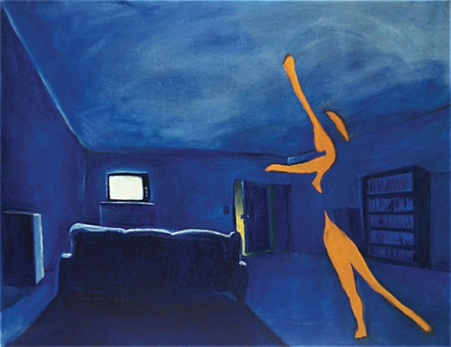 Colin Goldberg, Drama In The Blue Room, 1993. Oil on canvas, 36 x 48 inches. Private collection, New York.