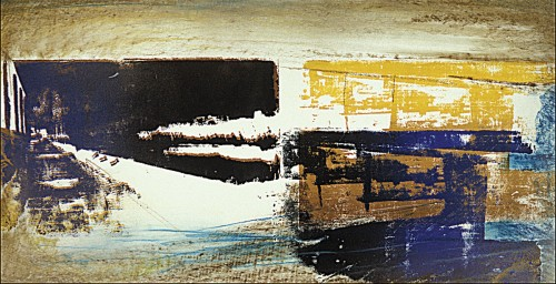 Colin Goldberg, Double Susquehanna Study, 1994. Silkscreen ink and pastel on paper, 14 x 24 inches. Original lost.