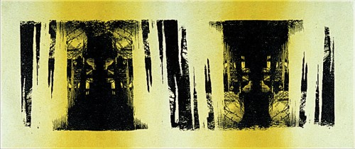 Colin Goldberg, Double Yellow Icicles, 1994. Silkscreen ink and acrylic on canvas, 18 x 48 inches. Private collection, New York.