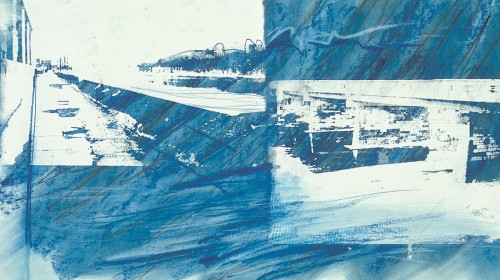 Colin Goldberg, Blue Susquehanna Study, 1994. Silkscreen ink and pastel on paper, 14 x 24 inches. Original lost.