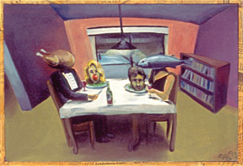 Colin Goldberg, The Dinner Party, 1992. Oil on canvas, 18 x 24 inches. Private collection, New York.