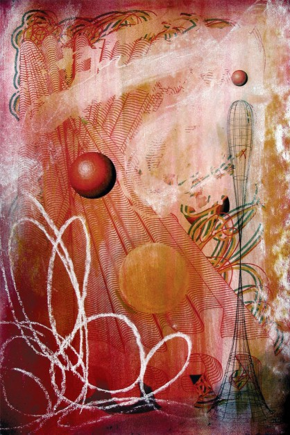 Colin Goldberg, Blobelisk, 2005. Latex glaze and pigment print on paper, 13 x 19 inches. Private collection, Ohio.