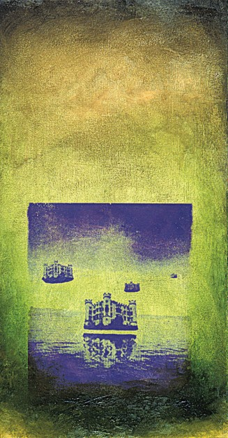 Colin Goldberg, Green Floating Castles, 1994. Silkscreen ink, acrylic and enamel on canvas, 14 x 24 inches. Private collection, New York.