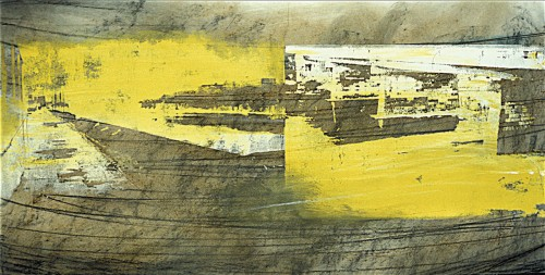 Colin Goldberg, Brown Susquehanna Study, 1994. Silkscreen ink and pastel on paper 14 x 24 inches. Original lost.