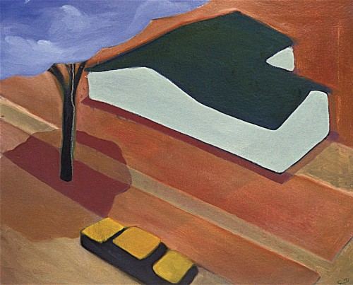 Colin Goldberg, Suburban Requiem, 1994. Oil on canvas, 36 x 48 inches. Original lost.