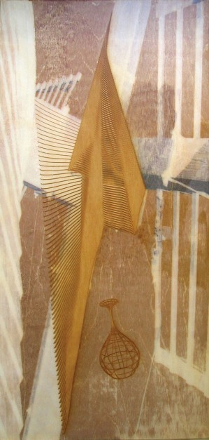 Colin Goldberg, Windmill With Falling Wireframe, 2006. Laser-etched wood panel with pigment transfer and liquid polymer, 12 x 24 inches.