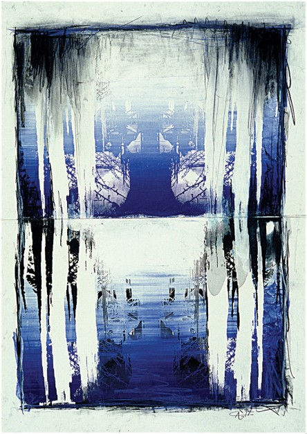 Colin Goldberg, Blue Icicles, 1994. Silkscreen ink and pastel on paper, 36 x 24 inches. Private collection, New York.