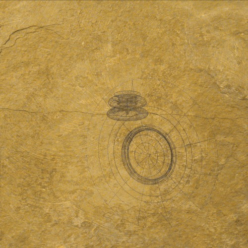 Colin Goldberg, Laser Slate #1, Laser-etched slate, 2005. 2011.75 x 11.75 inches. Original lost.