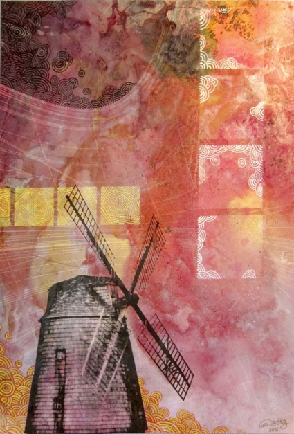 Colin Goldberg, Composition With Windmill, 2011. India ink, pigment print and gouache on paper, 12 x 18 inches.