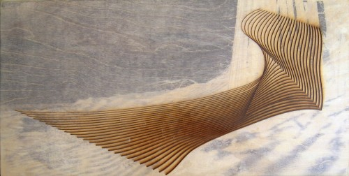 Colin Goldberg, Flying Point, 2006. Laser-etched wood panel with pigment transfer and liquid polymer, 12 x 24 inches. Private collection, New York.
