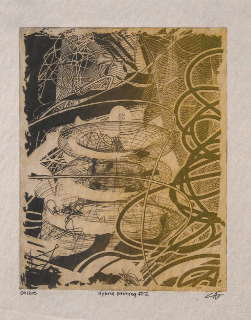 Colin Goldberg, Hybrid Etching No 2, 2005. Solarplate etching on paper, edition of one. 8 x 10 inches. Private Collection, Ohio.
