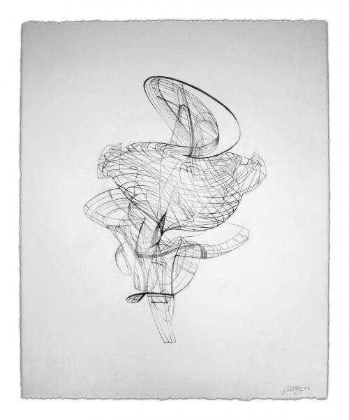 Colin Goldberg, Wireframe Drawing 1, 2011. Graphite on Rives BFK paper, 21 x 28 inches.