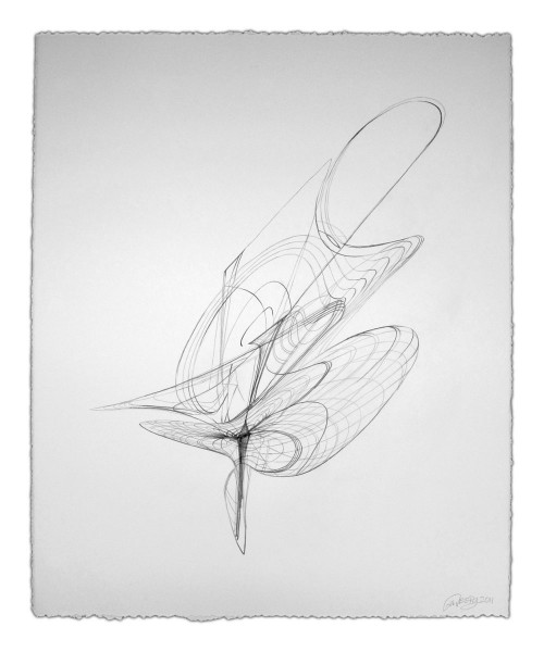 Colin Goldberg, Wireframe Drawing #3, 2011. Graphite on Rives BFK paper, 21 x 28 inches.