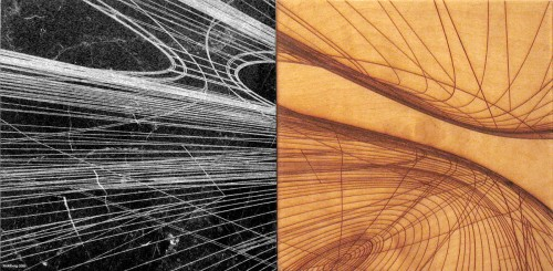 Colin Goldberg, Wireframe Diptych, 2006. Laser-etched wood and marble panels, 12 x 24. Collection of the artist.