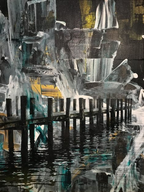 Greenport Dock #1, 2017. Acrylic and pigment print on linen. 32 x 24 inches.