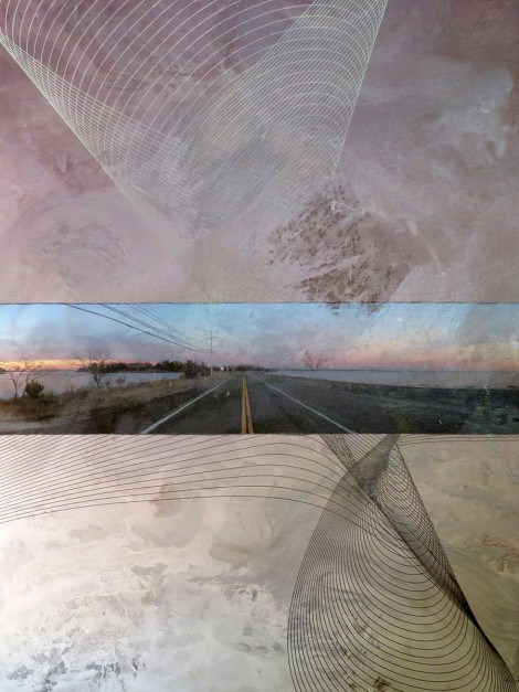 Colin Goldberg, Orient Causeway, 2013. Acrylic, metallic latex glaze, pigment print and charcoal on linen. 48 x 36 inches.