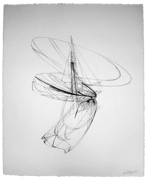 Colin Goldberg. Wireframe Drawing #2, 2011. Graphite on Rives BFK paper, 21 x 28 inches.