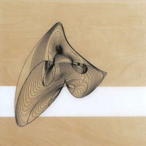 Colin Goldberg, Biomorphic Panel #1, 2014. Acrylic and pigment on birch panel with resin. 12 x 12 inches.