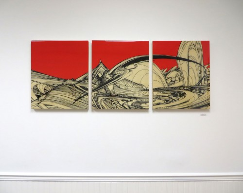 Colin Goldberg presented by Pamela Willoughby - East Hampton Family Care : Installation View - 'Inazuma', 62x24. Pigment transfer and acrylic with liquid polymer on wood panels.