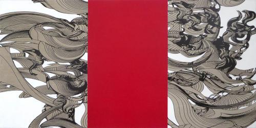 Colin Goldberg, Botai, 2014. Oil and pigment on linen. 30x60 inches.
