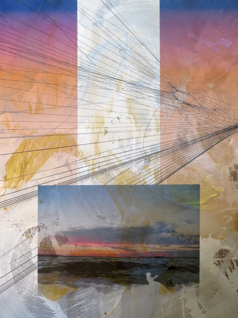Colin Goldberg, Peconic Bay with Wireframe, 2013. Acrylic, metallic latex glaze, and pigment on linen. 48 x 36 inches.
