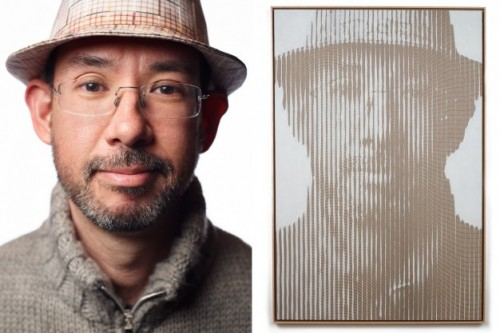 Colin Goldberg, Oil and pigment print on linen. 60 x 40 inches. Photograph (left) by Rick Wenner.