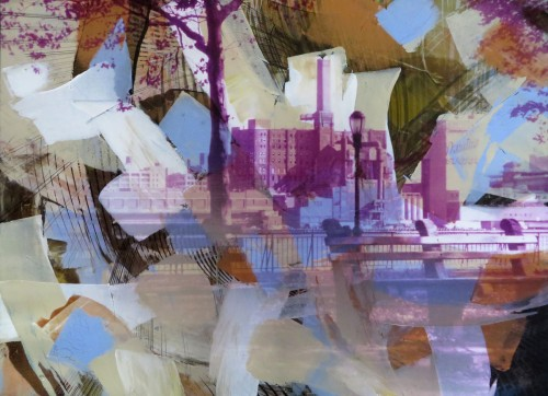 Colin Goldberg, Domino Sugar Factory, 2015. Acrylic and pigment print on paper, 21 x 29 inches.