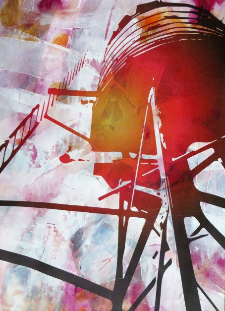 Colin Goldberg, Red Watertower, 2015. Acrylic, india ink wash and pigment print on paper, 29 x 21 inches.
